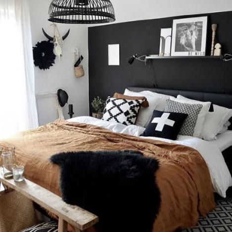 amenagement chambre cocooning noir et blanc