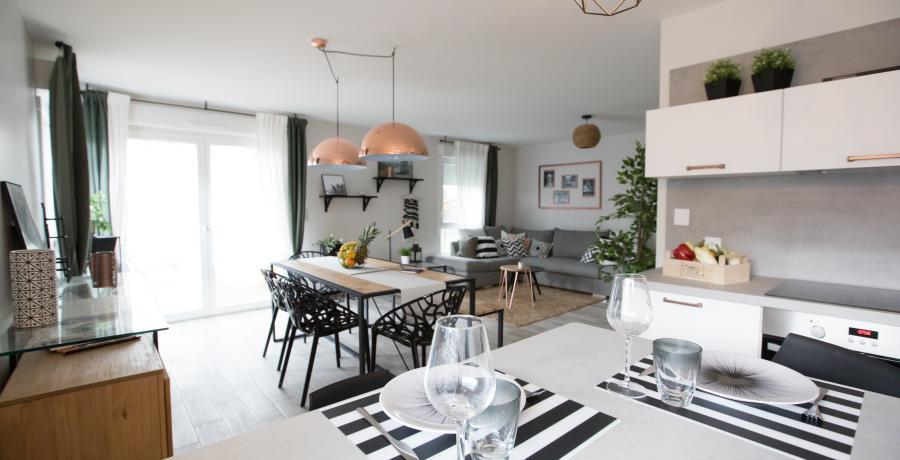 programme immobilier neuf à la motte-servolex: les carrés azur, duplex-jardin cuisine