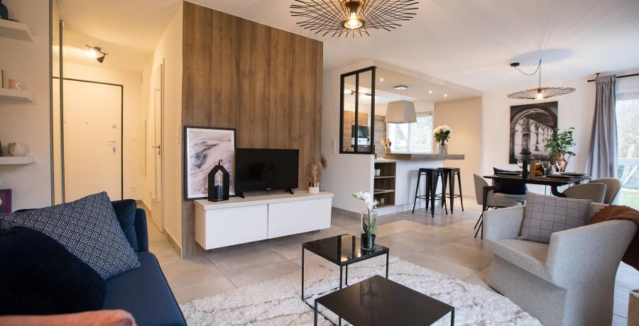 programme immobilier neuf à gries: les carrés des cinq tertres, duplex-jardin séjour