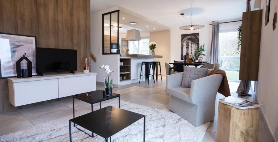 programme immobilier neuf à sélestat : les carrés art'mony, duplex-jardin salon