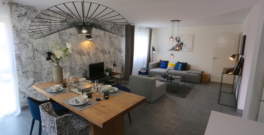 programme immobilier neuf à Faverges : les carrés du Sapin Bleu, duplex-jardin séjour
