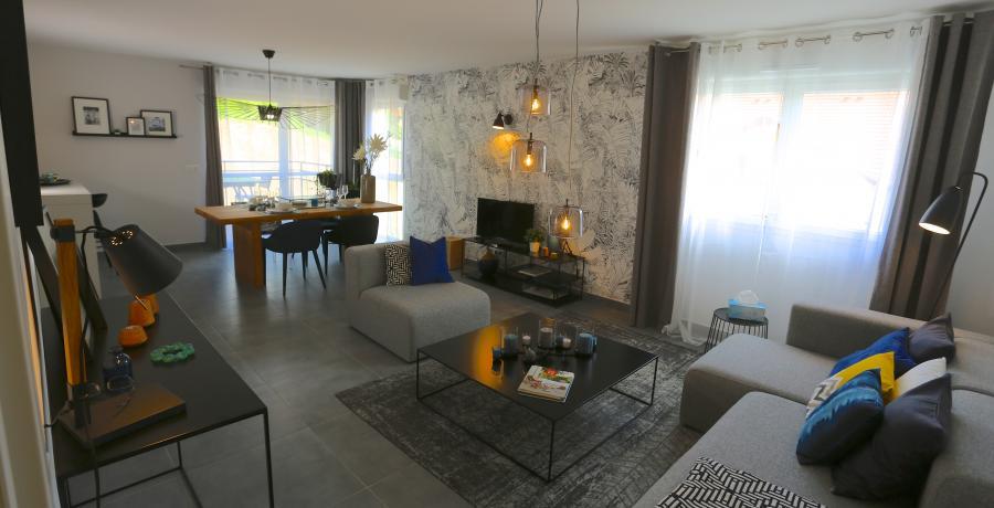programme immobilier neuf à Ballaison : les carrés Ros'alba duplex-jardin salon