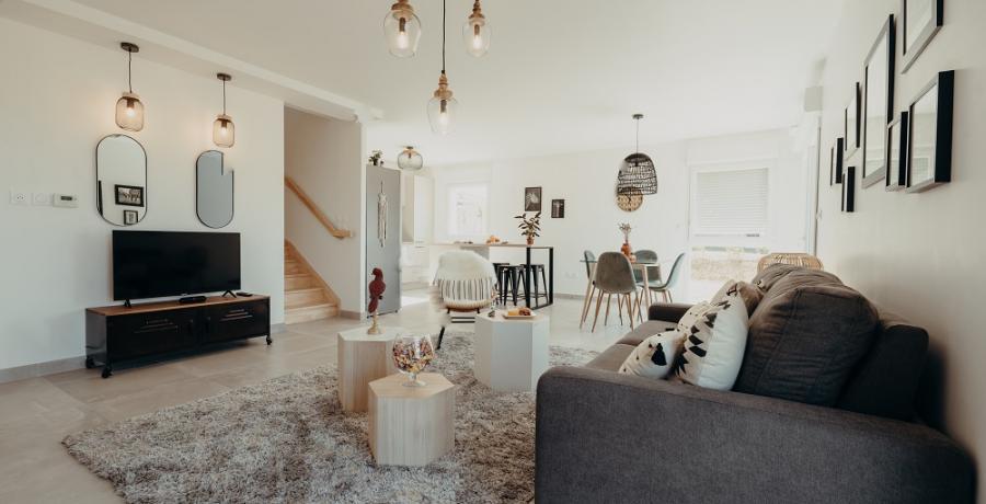programme immobilier neuf à Auzeville-Tolosane : les carrés des coteaux, duplex-jardin salon