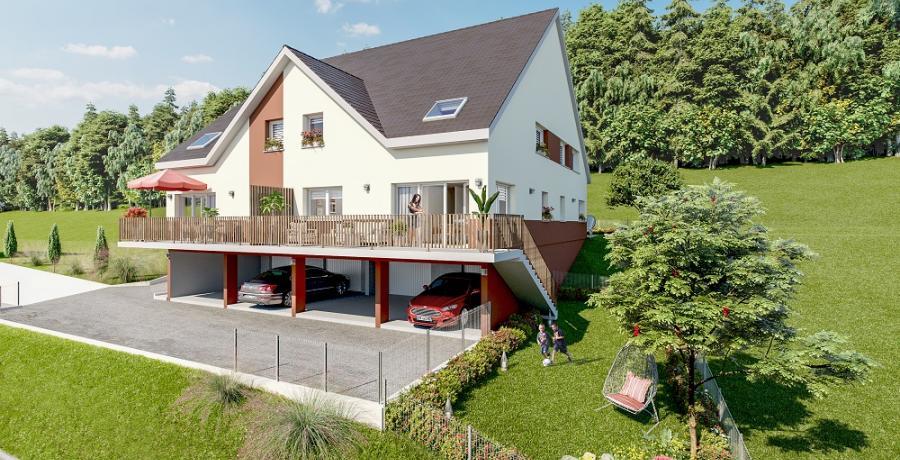 Appartement neuf duplex-jardin à Jougne