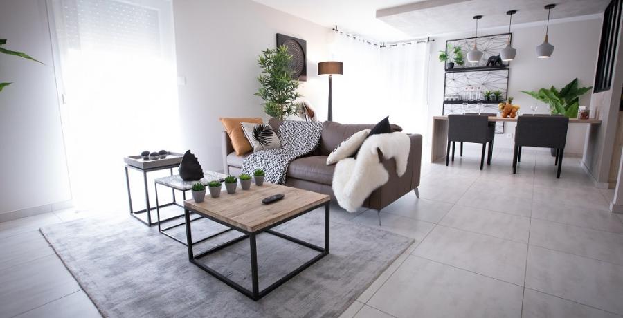 programme immobilier neuf à mulhouse dornach : les carrés des violettes, duplex-jardin chambre séjour