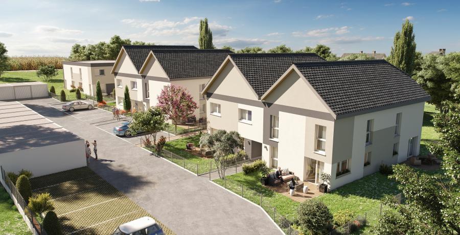 Appartement neuf Duplex-Jardin à Mittelschaeffolsheim aérien
