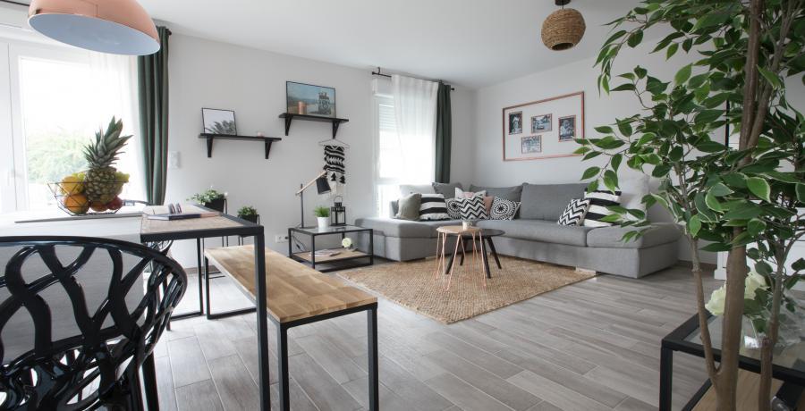programme immobilier neuf à Ebersmunster : les Carrés Tradition, duplex-jardin salon