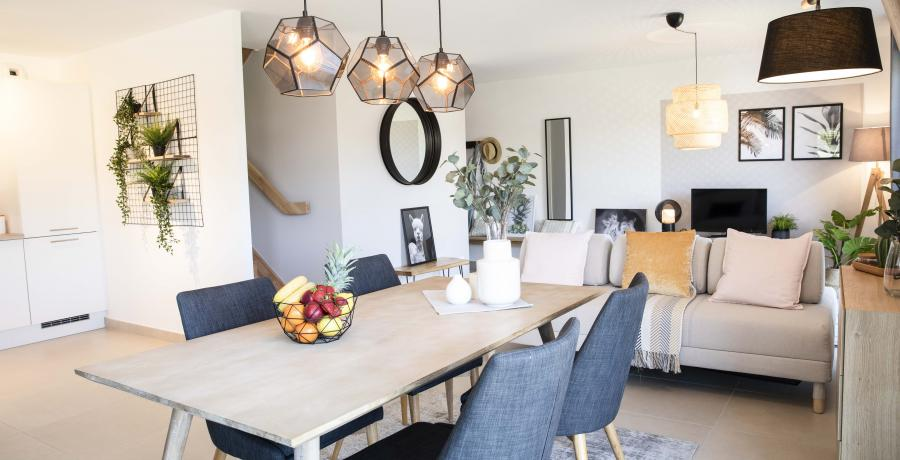 Programme immobilier neuf aux Auxons : les Carrés d'Ausona, duplex-jardin salle à manger
