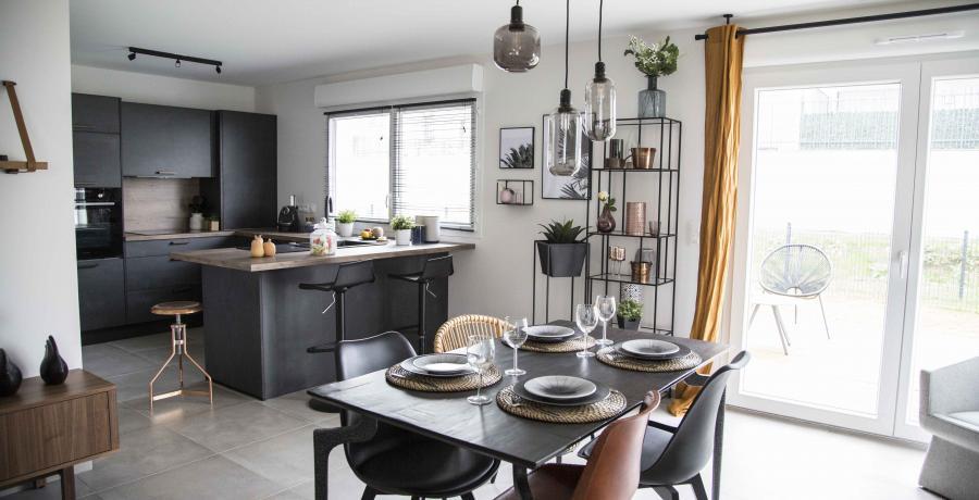 programme immobilier neuf à blaesheim : les Carrés Sépia, duplex-jardin cuisine