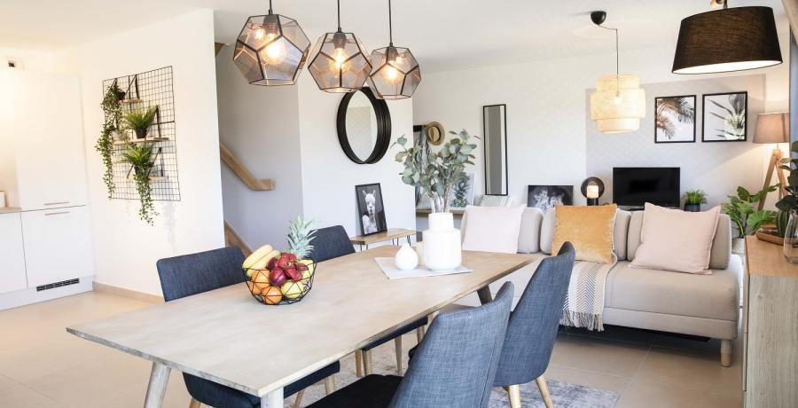 Programme immobilier neuf à Sombacour : les Carrés du Tacot, duplex-jardin salle à manger