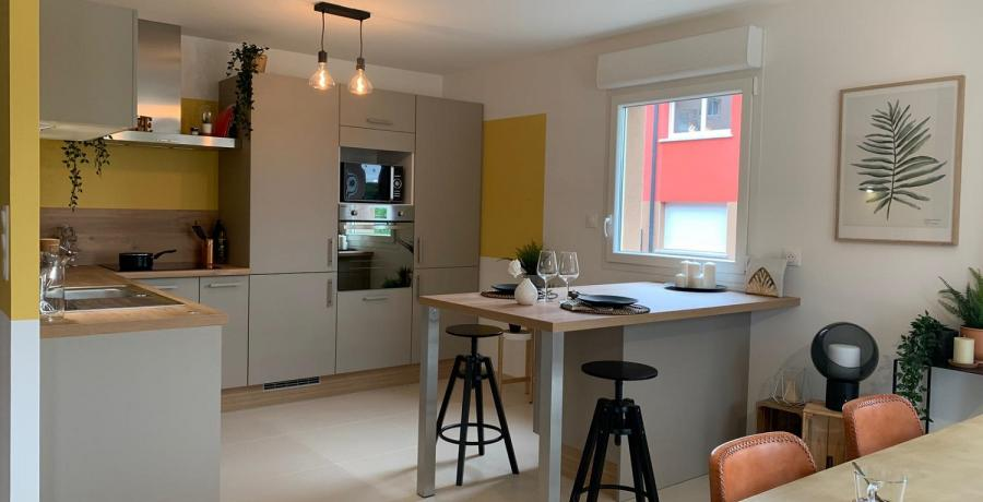 Programme immobilier neuf à Sennecey-lès-Dijon : les Carrés du Clos Denis, duplex-jardin cuisine