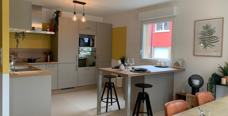 Programme immobilier neuf à Devecey : les Carrés du Clos des Chênes, duplex-jardin cuisine