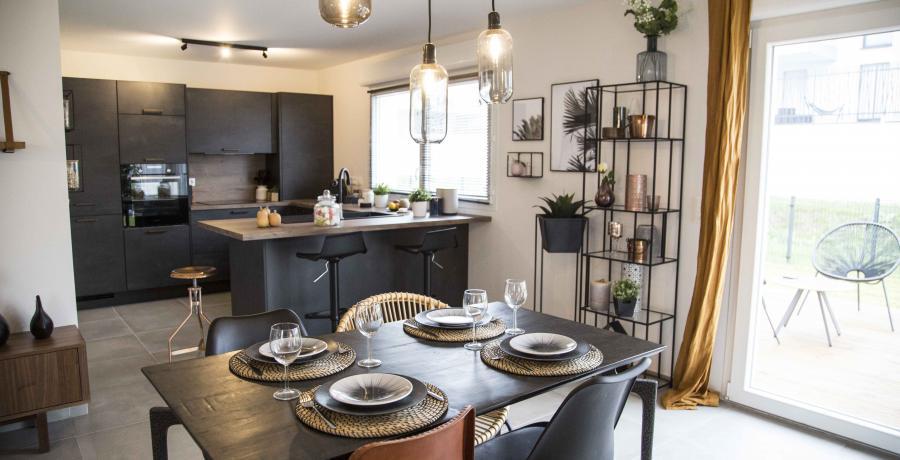 programme immobilier neuf à krautergersheim : les carrés cécile, duplex-jardin cuisine