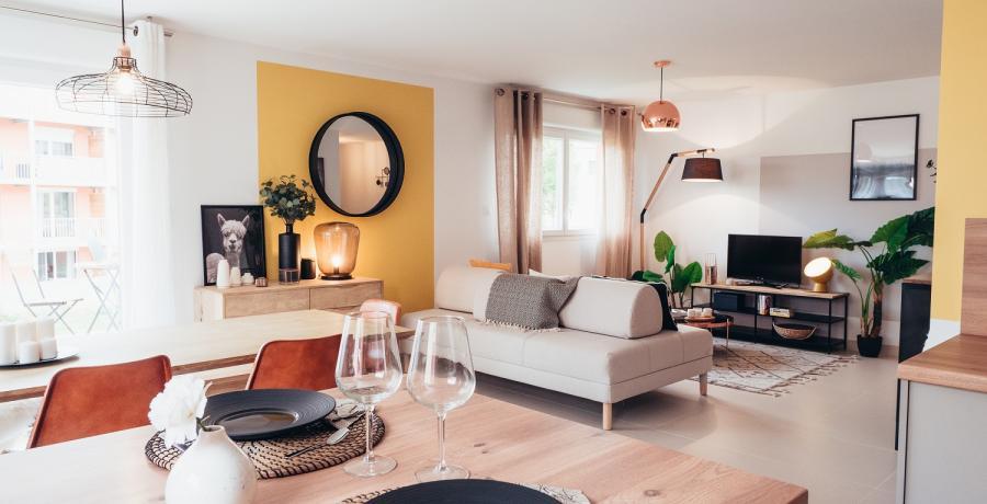 Programme immobilier neuf à Boussières : les Carrés des Vignes, duplex-jardin salle à manger